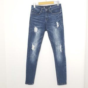 Noisy May   Distressed High Waist Skinny Jeans